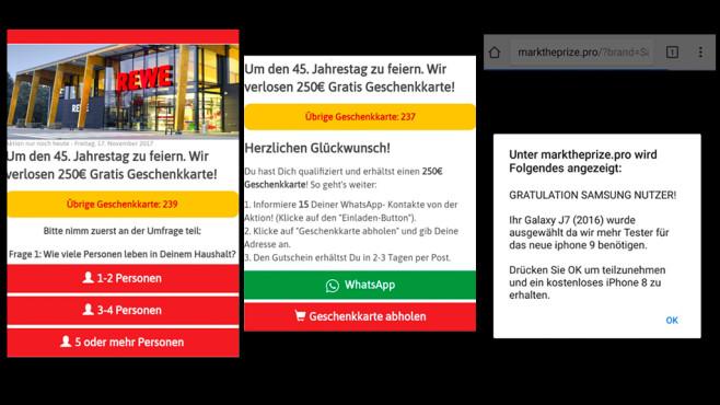 WhatsApp 250-Euro-Rewe-Gutschein Fake Beispiel©Mimikama