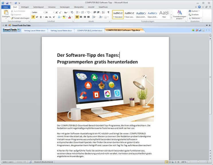 Screenshot 1 - SmartTools DocTabs für Word