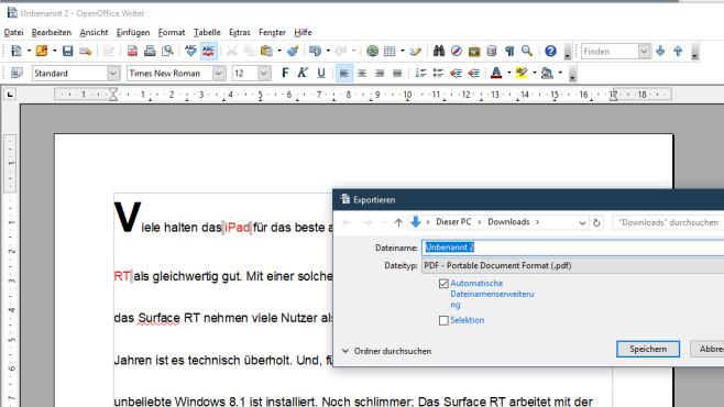 Schnell erreichbarer PDF-Export ©COMPUTER BILD