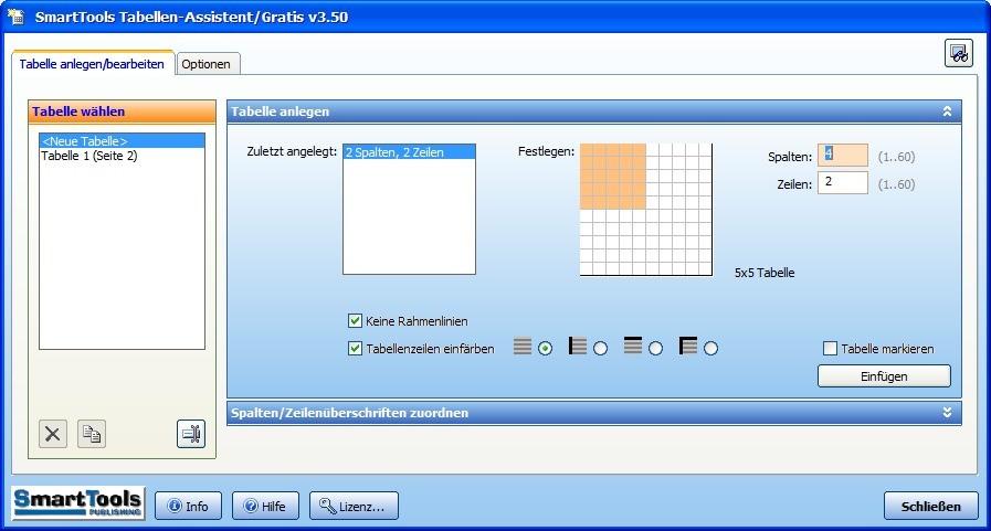 Screenshot 1 - SmartTools Tabellen-Assistent für Word