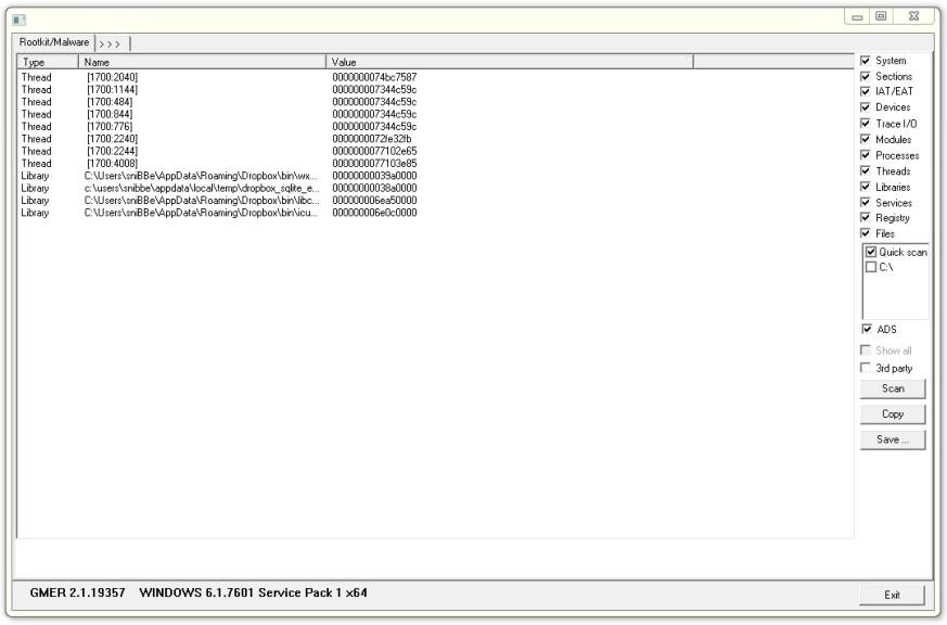 Screenshot 1 - GMER