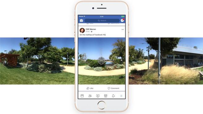 Facebook: 360-Grad-Bilder nun direkt in der App möglich 360-Grad-Aufnahmen stehen nun auch direkt in der Facebook-App zur Verfügung.©Facebook
