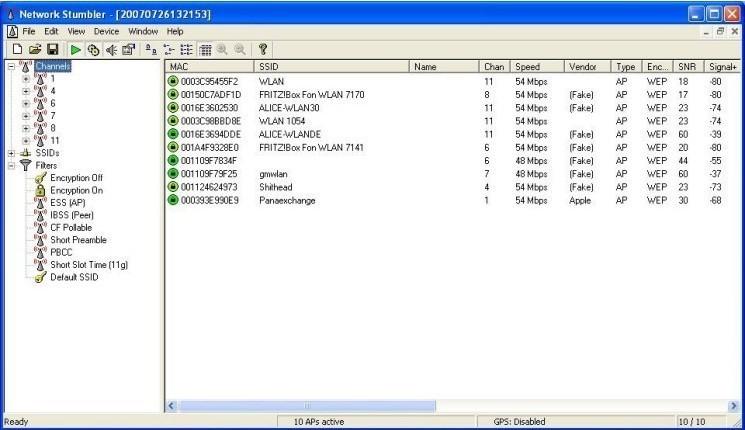 Screenshot 1 - NetStumbler