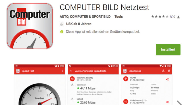 COMPUTER BILD-Netztest©Google