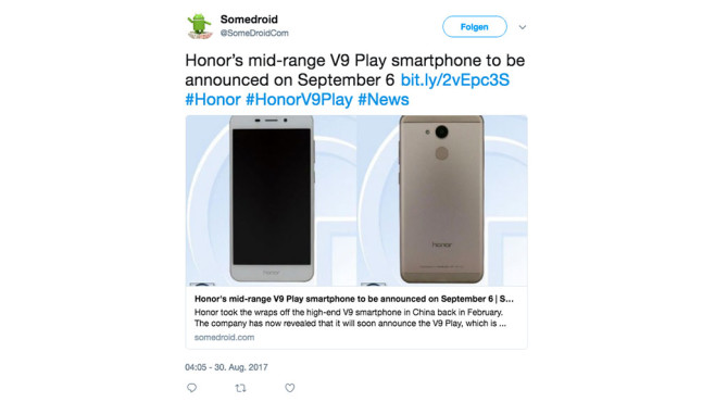 Tweet Huawei V9 Play © Screenshot https://twitter.com/SomeDroidCom/status/902849824055316480