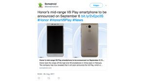 Tweet Huawei V9 Play©Screenshot https://twitter.com/SomeDroidCom/status/902849824055316480
