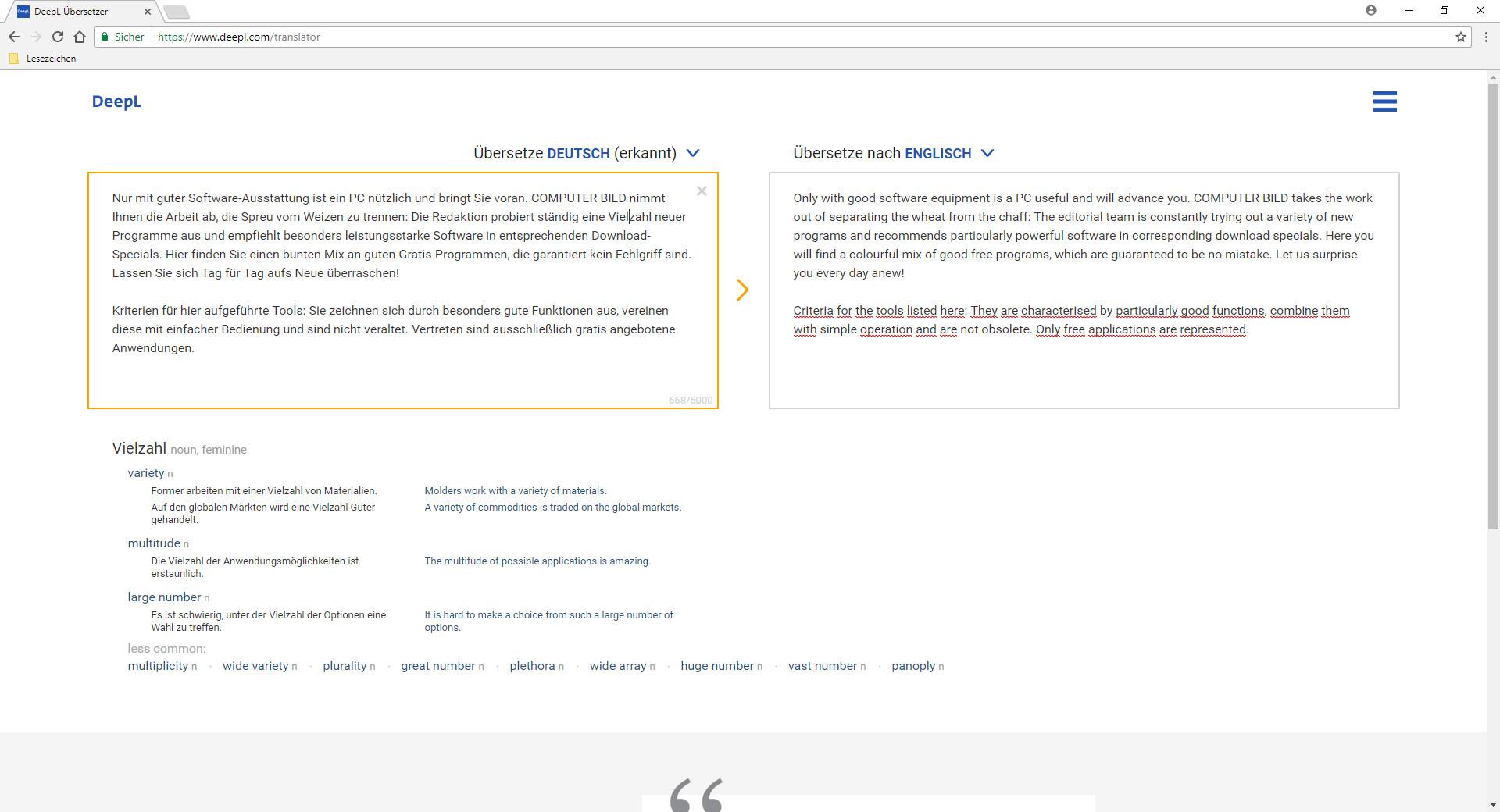 Screenshot 1 - DeepL Online-Übersetzer