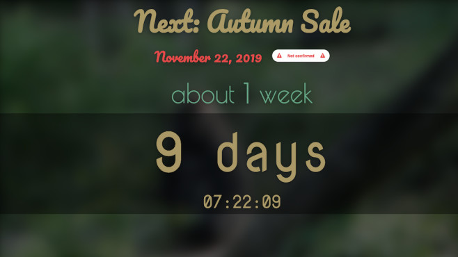 Steam Sale Countdown © whenisthenextsteamsale.com