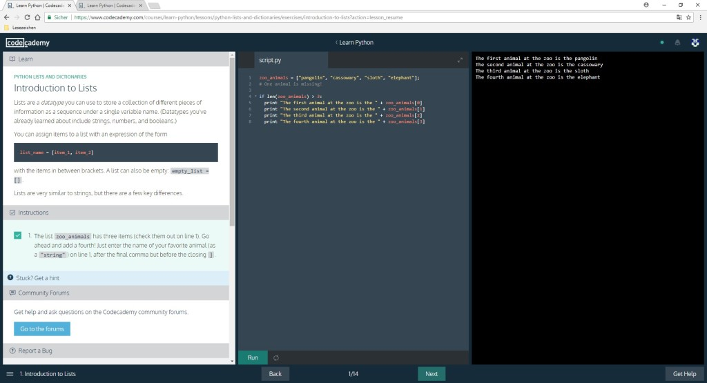 Screenshot 1 - Codecademy