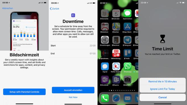 """Apples iOS 12 vs. Android Pie: Welches System ist besser? Nutzungsbeschränkung: Außerhalb der festgelegten """"Bildschirmzeit"""" erscheinen Apps abgedunkelt. Bei Bedarf deaktivieren Eltern die Sperre für wichtige Apps oder schalten sie temporär ab.©COMPUTER BILD"""