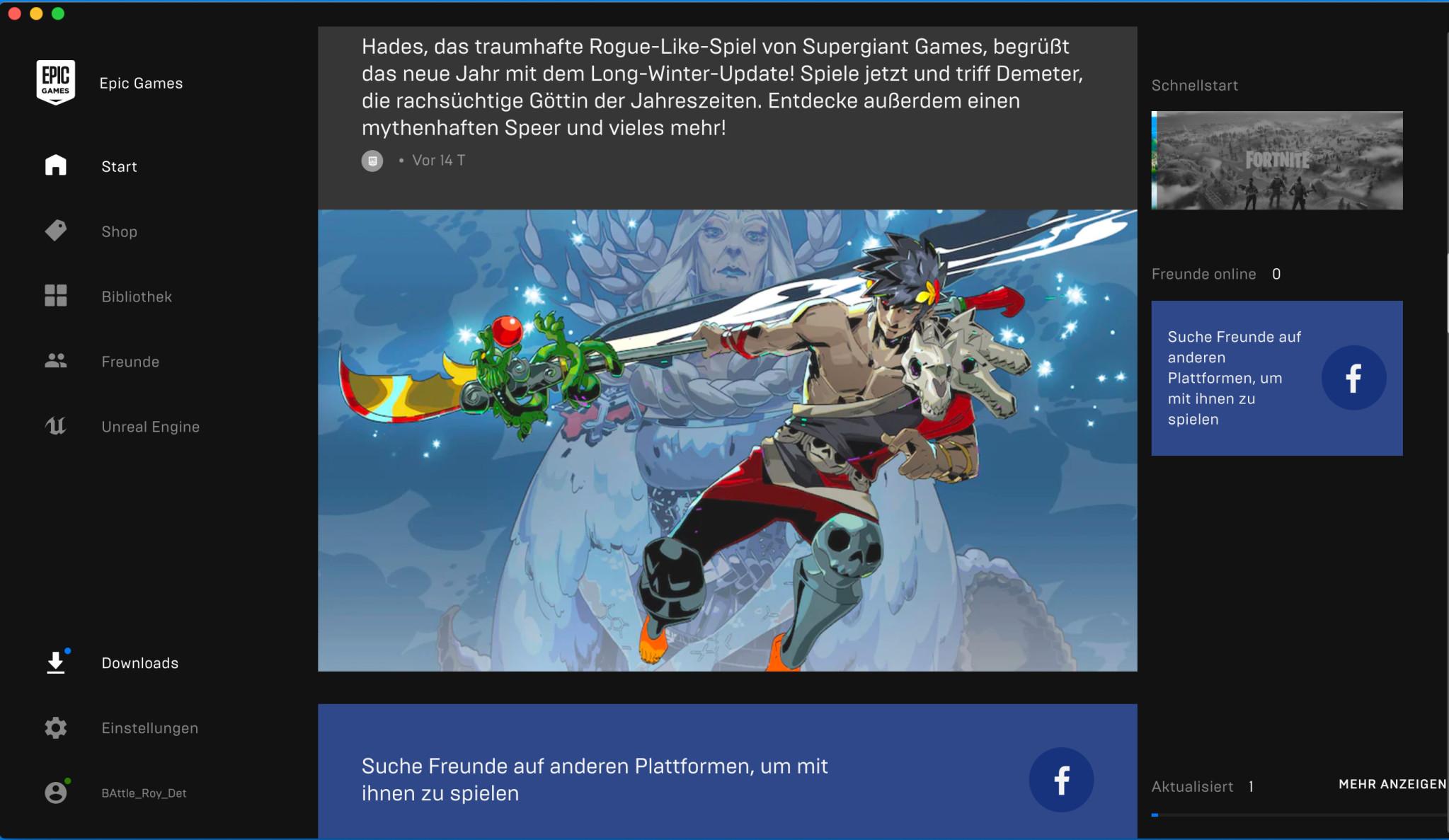 Screenshot 1 - Epic Games Launcher (Mac)