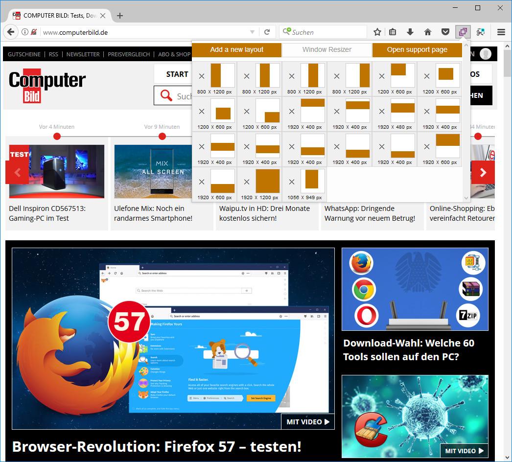 Screenshot 1 - Window Resizer für Firefox