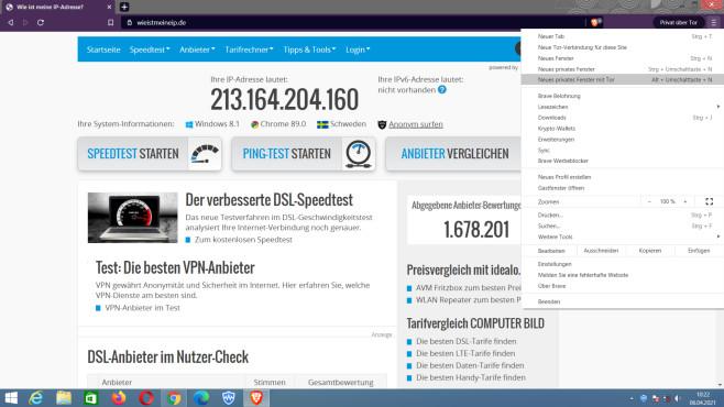 IP-Adresse ändern mit Tor: So erschaffen Sie einen anonymen Firefox-Stick Der Brave Browser ist in Sachen Hintergrundtechnik mit dem Platzhirsch Tor Browser konkurrenzfähig.©COMPUTER BILD