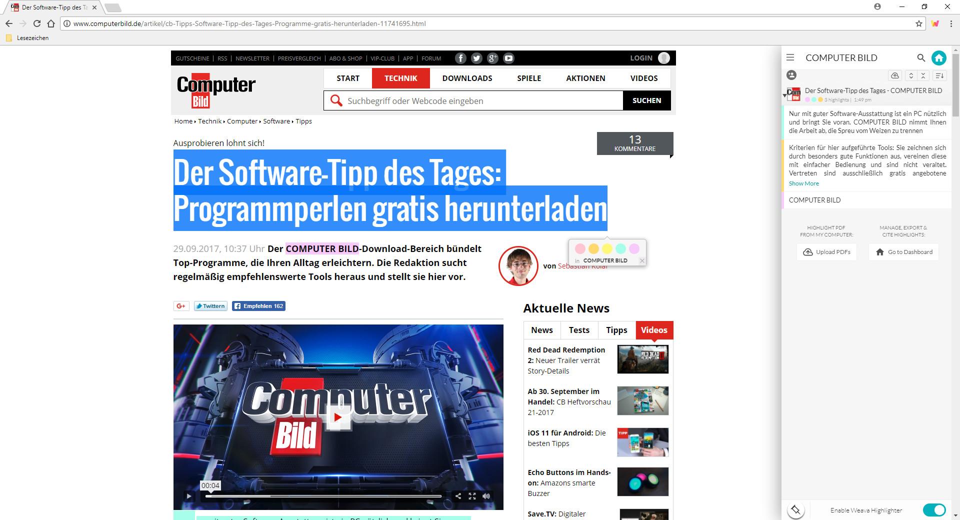 Screenshot 1 - Weava Highlighter (PDF & Web) für Chrome