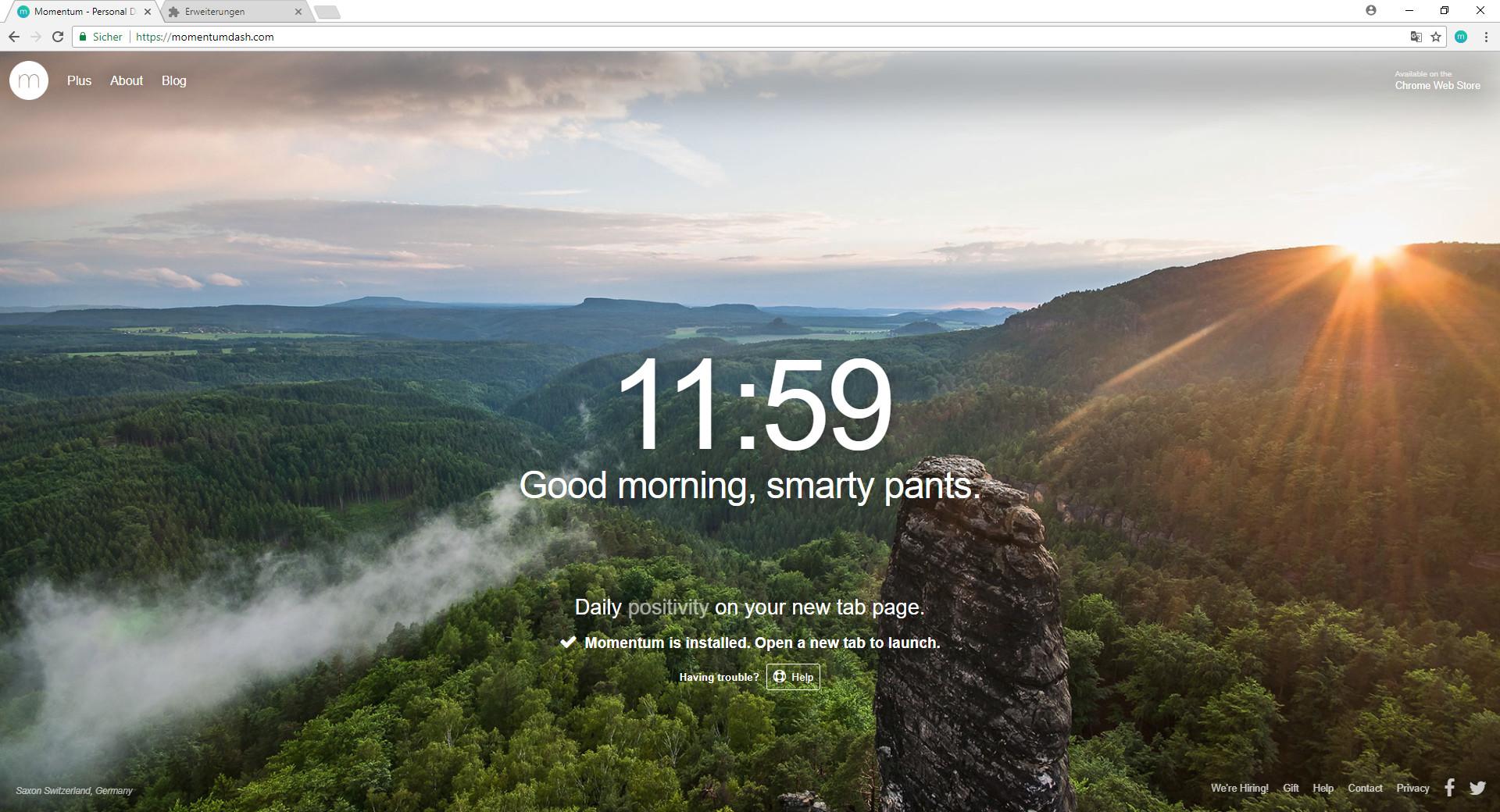 Screenshot 1 - Momentum für Chrome