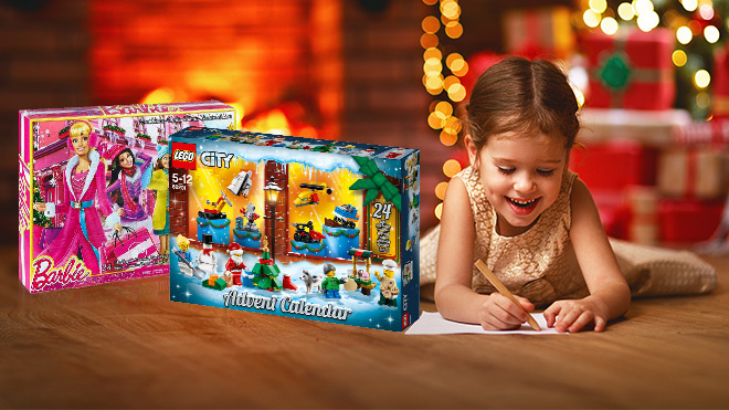 Adventskalender für Kinder©iStock.com/evgenyatamanenko, Mattel, Lego