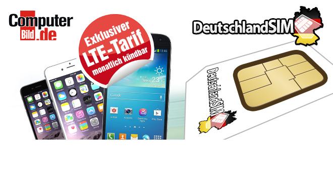 LTE S-Tarif für nur 12,95 Euro pro Monat!©DeutschlandSIM/Apple/Samsung/COMPUTER BILD